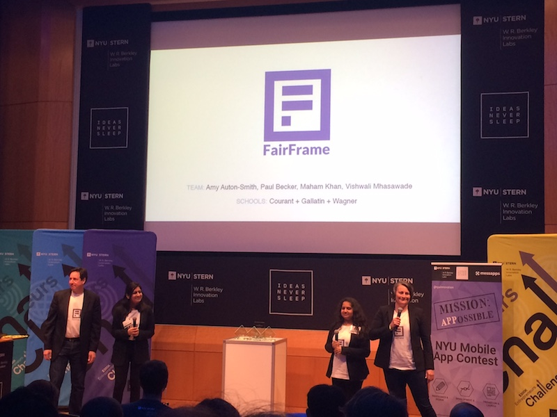 Image of FairFrame co-founders Amy Auton-Smith, Paul Becker, Maham Khan, and Vishwali Mhasawade