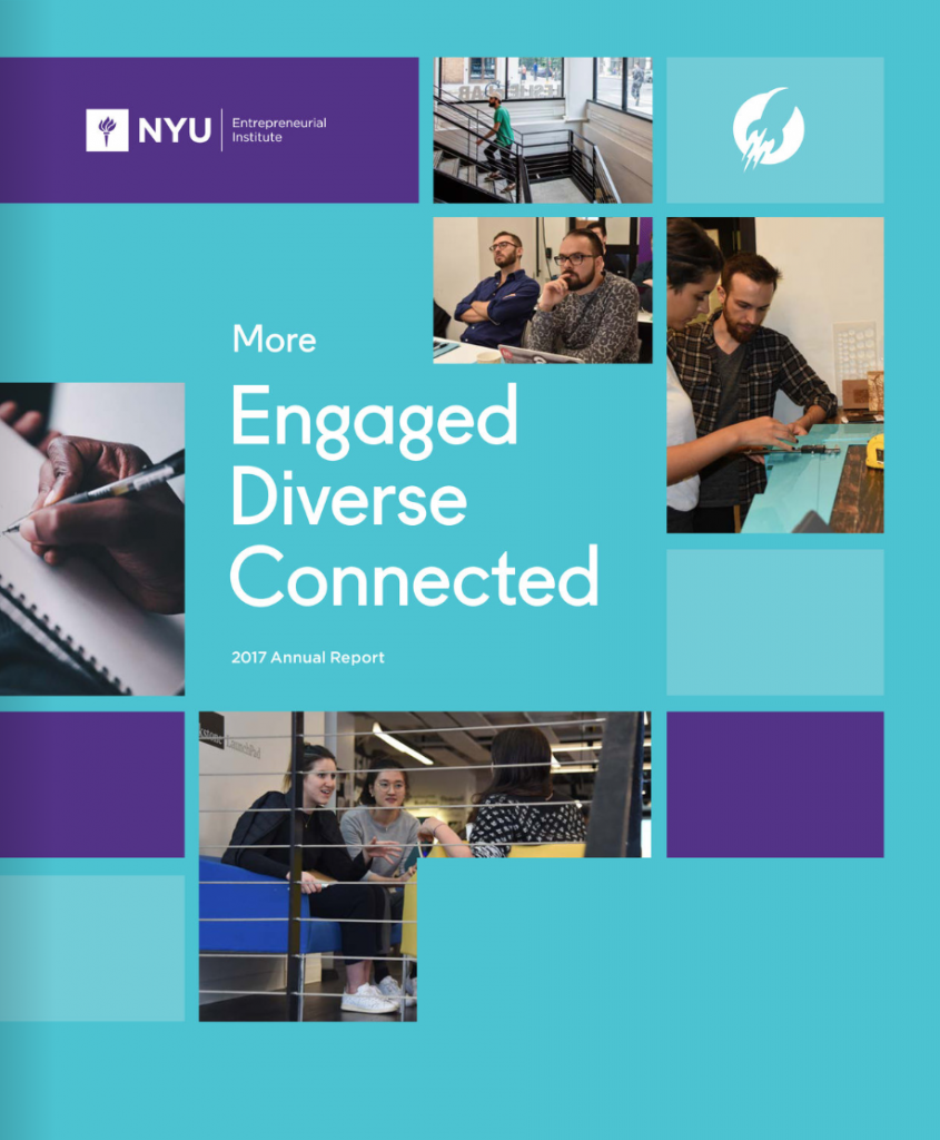 Image of the cover of the 2017 NYU Entrepreneurial Institute Annual Report.