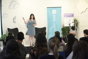 Photo of Sabina from Health Huddle pitching