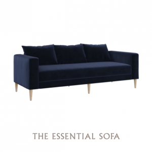 The-cushion sofa made of synthetic velvet by Sabai Design.