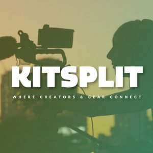 Photo of woman using expensive camera equipment with the Kitsplit logo on top.