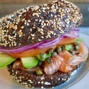 Brooklyn Bagel with delicious fresh ingredients inside