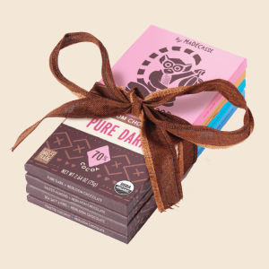 chocolate bars wrapped in a bow by Beyond Good