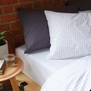 bed with Brooklinen bedding set