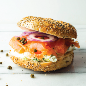 bagel with cream cheese and lox from Brooklyn Bagel