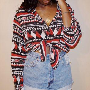 woman wearing patterned shirt