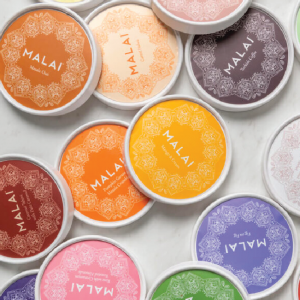 ice cream pint lids with different flavors from Malai