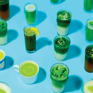 various different cups with different matcha drinks from matchabar