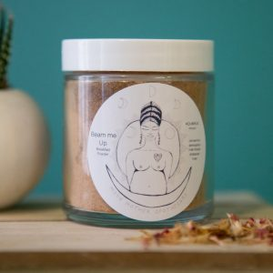 A jar of Moon Mother Apothecary breakfast poweder