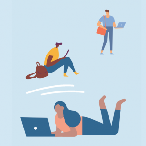 drawing of 3 people using technology (computers, phones)