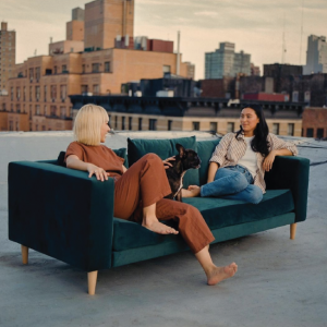 velvet couch on a roof by Sabai Desing