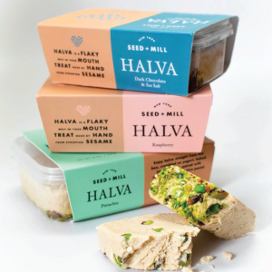 three different halva flavors by seed and mill