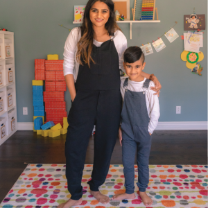 an adult woman and a child wearing Swoveralls