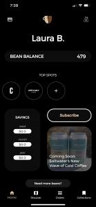 Screenshot of the coffee card app